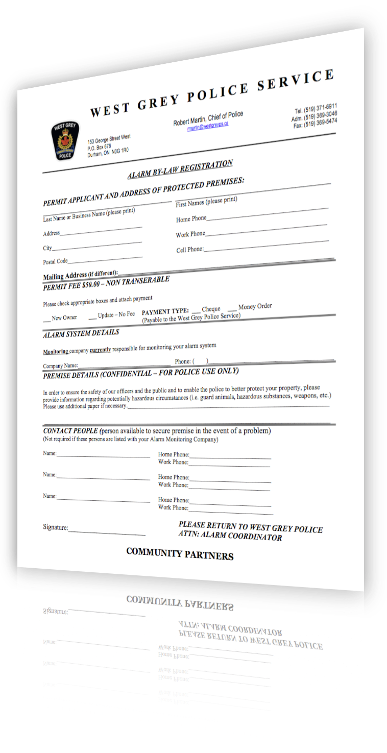 Alarm Registration Form